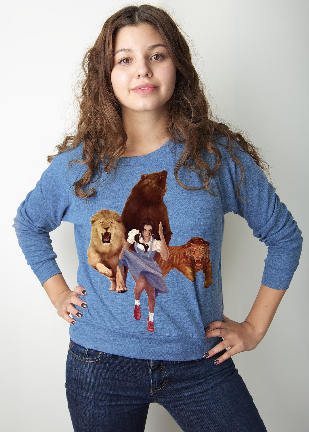 Wizard of Oz, American Apparel, Lion Tiger Bear OH Fxxx, Blue Pullover Available S-L
