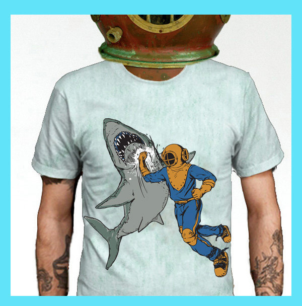 Shark T-shirt, Shark Tee, Shark Shirt, American Apparel Seafoam Available S XL 2XL