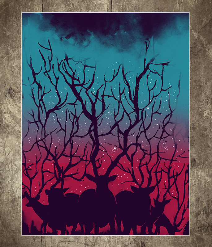 Deer, Forest, Stars, Night, Sky, Art Print, Illustration, Poster 18' x 24'
