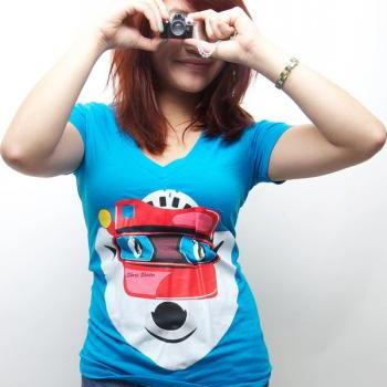 Viewmaster, Polar Bear tee, Penguin tshirt, Turquoise Deep V, Available S-XL