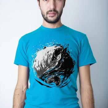 Ying Yang, Shark tshirt, Bear tee, Fin Fang, Mens Tee, Turquiose, Available in sizes S-2XL