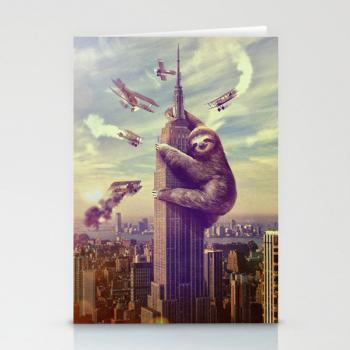 Slothzilla 3 Pack, Stationary Cards, Folded Cards, Blank Cards, Greeting Cards, Matching envelopes included